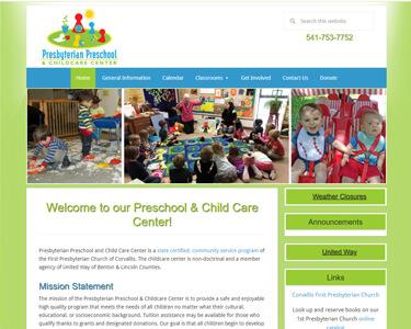 1st Presbyterian Preschool & Childcare Center website after redesign