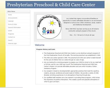 1st Presbyterian Preschool & Childcare Center website before redesign
